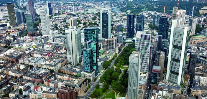 Aerial view of CapitaLand Commercial Trust's Gallileo (emerald building), and its position in relation to Frankfurt's CBD. (Photo: CapitaLand)