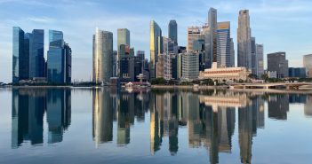 The Singapore skyline, with major office properties owned by REITs in view. (Photo: REITsWeek)
